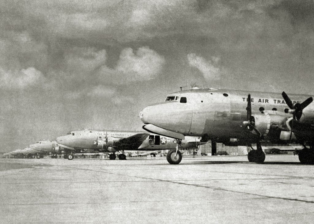 TEN C-54 AT THE READY FOR OPERATION GREEN AT BORINQUEN FIELD 1945