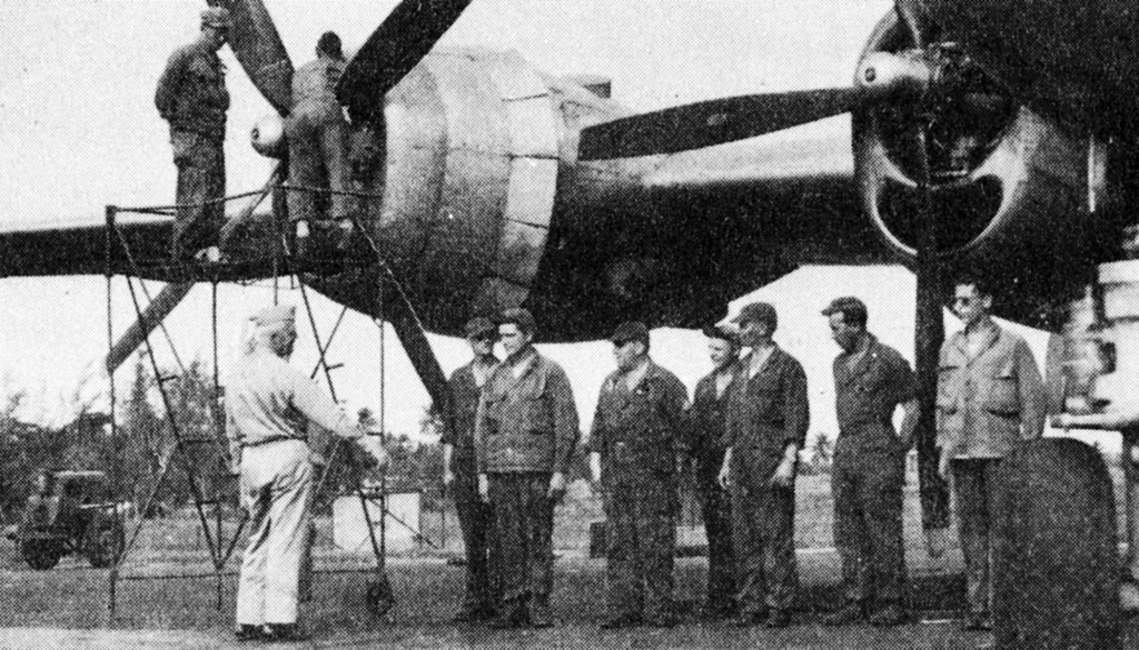 GENERAL ARNOLD INSPECTING CREW OF B-29 AT BORINQUEN FIELD 1945