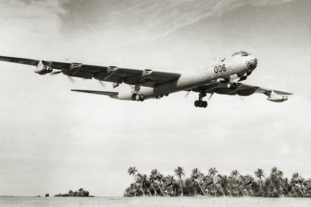 RB-36 44-92006 COMING OVER THE GOLF COURSE AT RAMEY AIR FORCE BASE 1954