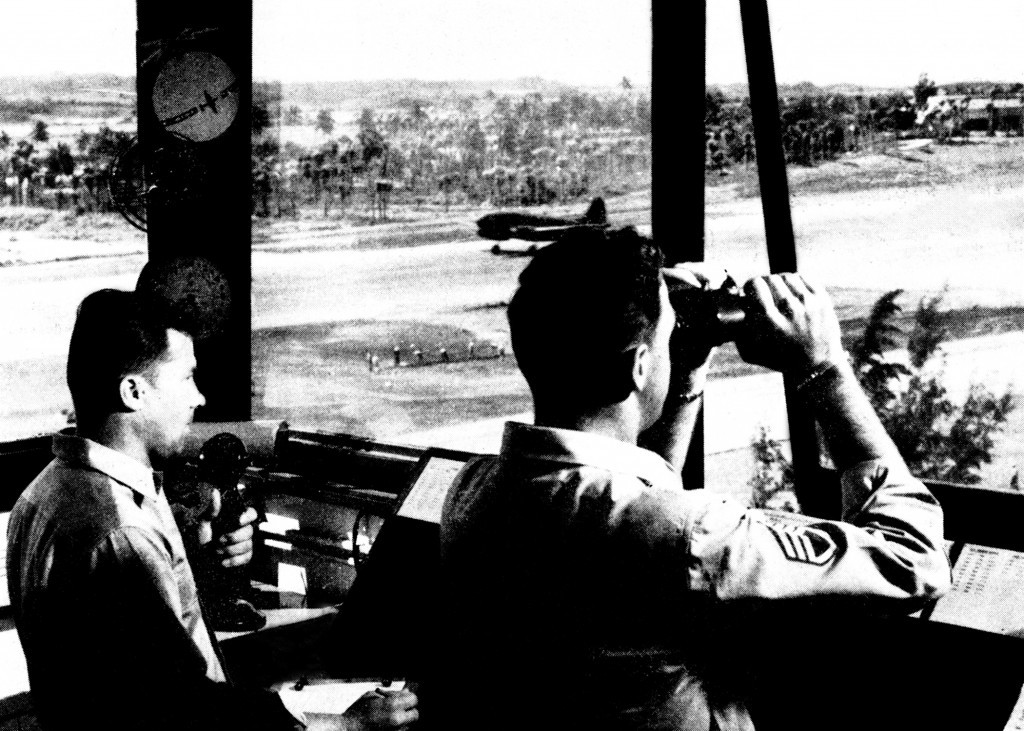 BORINQUEN FIELD TOWER, C-46 SEEN LANDING 1942