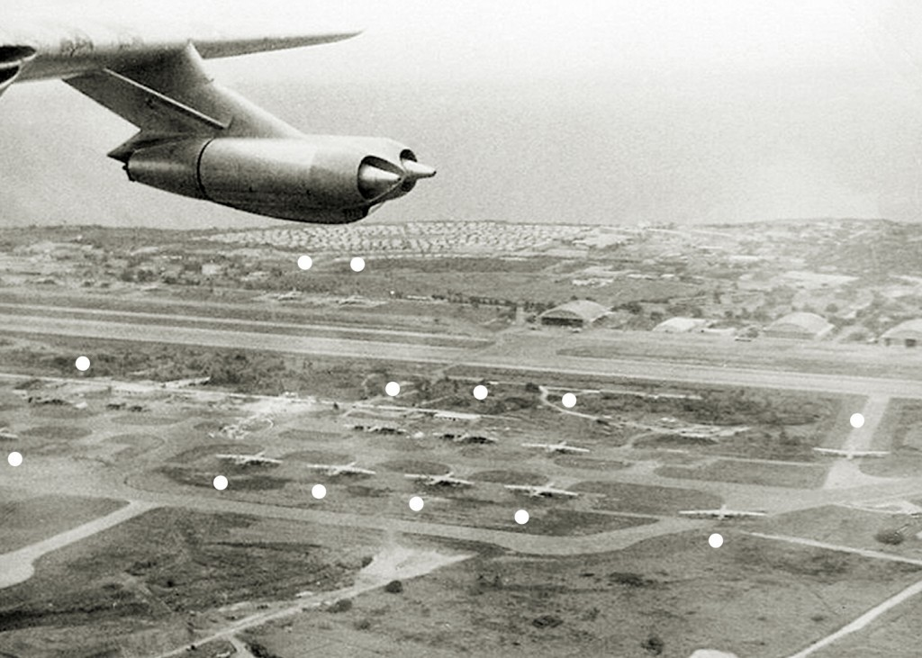 THIRTEEN B-36 SEEN AT THE ALERT AREA OF RAMEY AIR FORCE BASE 1956
