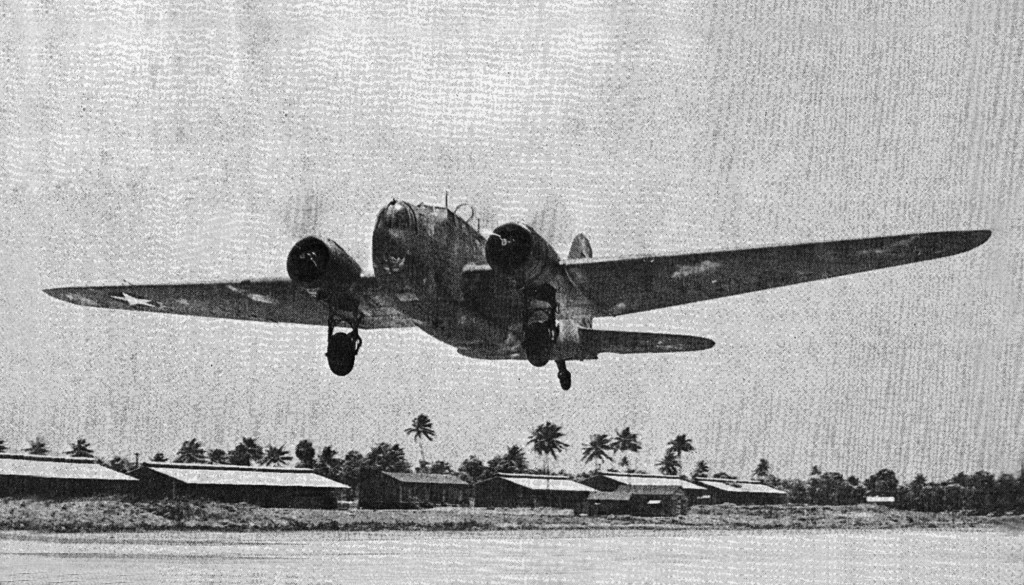 B-18 BOLO TAKING OFF ON A MARITIME PATROL AT BORINQUEN FIELD 1942